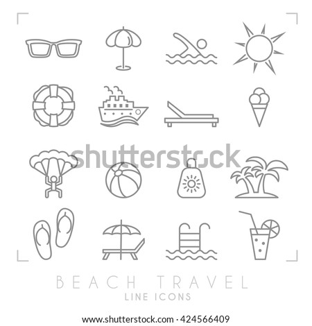Outline thin travel and vacation icons set. Sunglasses, umbrella, swim, sun, lifebuoy, ship, desk chair, ice cream, air sports, ball, sun cream, palms, flip flops, pool, bar and cocktail. - stock vector