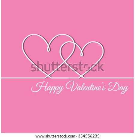 Outline Valentines day for Design, Website, Background, Banner. Heart Silhouette for greeting card or Premium flyer. Valentines card with line heart and Happy Valentine's Day phrase. Vector. Best gift - stock vector