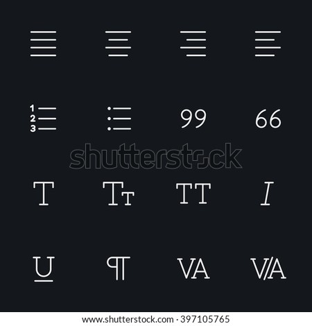 Outline vector icons for web and mobile. Text editor Icons, 2 pixel stroke & 48x48 resolution - stock vector