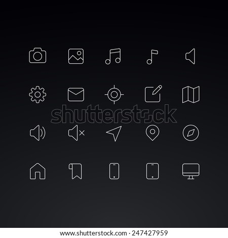 Outline vector icons for web and mobile. Thin 1 pixel stroke & 60x60 resolution. - stock vector