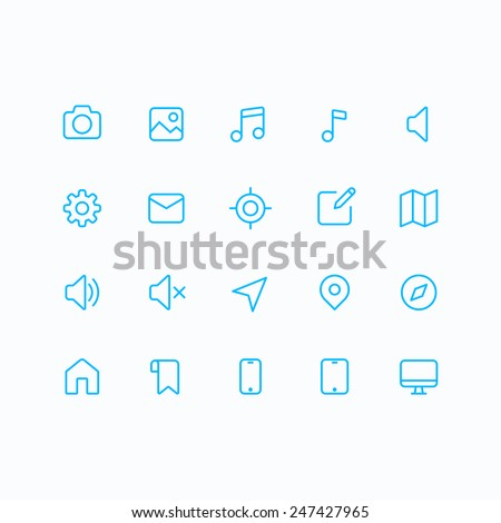 Outline vector icons for web and mobile. Thin 2 pixel stroke & 60x60 resolution. - stock vector