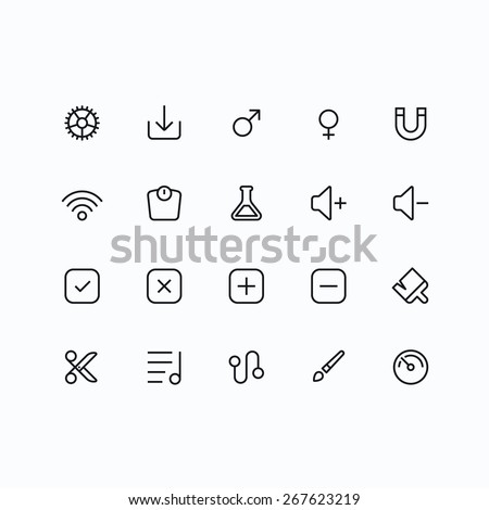 Outline vector icons for web and mobile. Thin 2 pixel stroke & 60x60 resolution - stock vector
