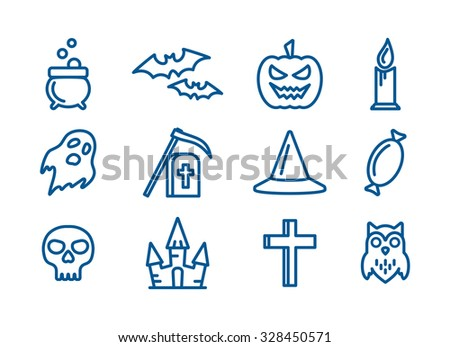 Outline vector icons set for Halloween party decoration. Cross, skull, bats and grave signs for design. Owl, ghost, pumpkin, castle and cauldron symbols - stock vector