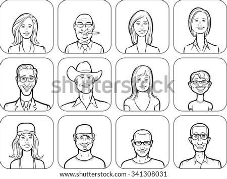 outline vector illustration of diverse business people - stock vector