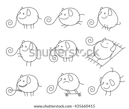 Outline vector images of cheerful cartoon elephant in various poses. Black and white. - stock vector
