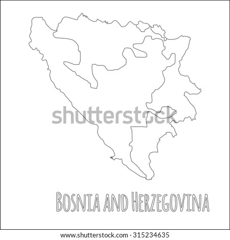 Outline vector map of Bosnia and Herzegovina. Simple Bosnia and Herzegovina border map. Vector silhouette on white background. - stock vector