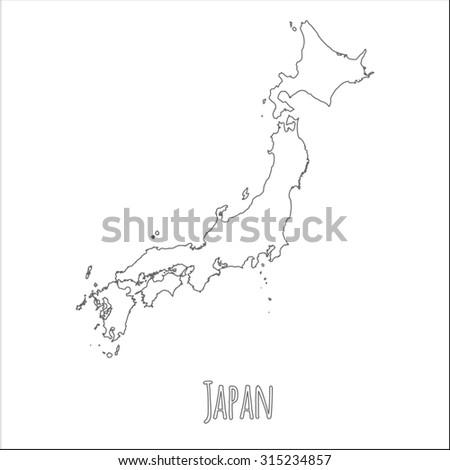 Outline Vector Map Japan Simple Japan Stock Vector - Japan map silhouette