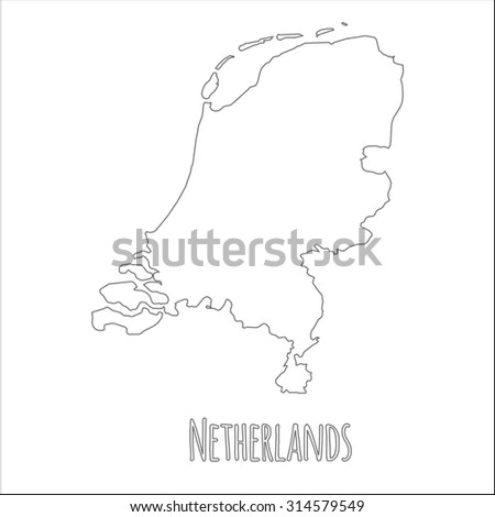 Outline vector map of Netherlands. Simple Netherlands border map. Vector silhouette on white background. - stock vector