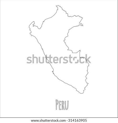 Outline vector map of Peru. Simple Peru border map. Vector silhouette on white background. - stock vector
