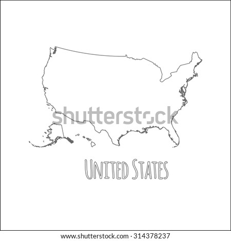 Outline Vector Map United States Simple Stock Vector 314378237 ...