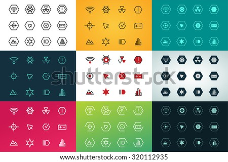 Outline vector UI technology icons set. Web net vector ui hud gui user interface for web and mobile. Application, web interface, GUI interface, UI interface icons, HUD web interface icons. Simple flat - stock vector