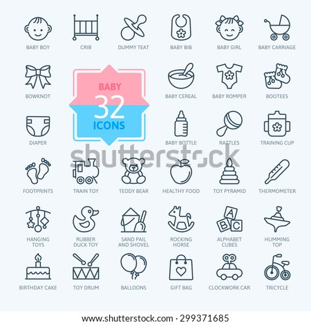 Outline web icon set. Baby toys, feeding and care - stock vector