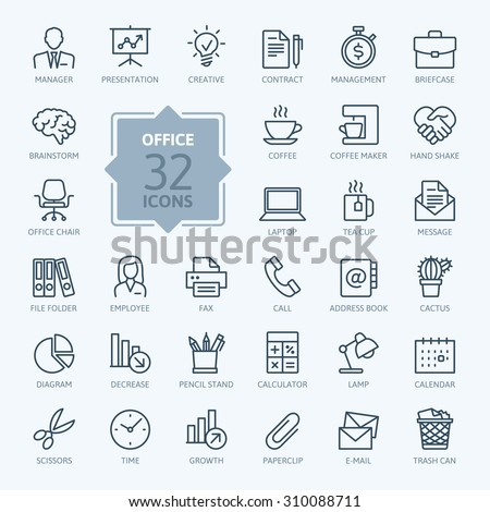 Outline web icon set - Office. - stock vector