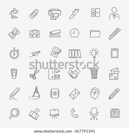Outline web icon set - Office - stock vector