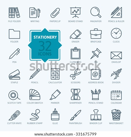 Outline web icon set - office stationery - stock vector