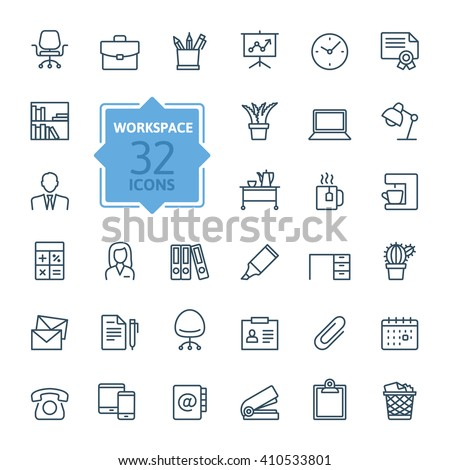 Outline web icon set - office workspace - stock vector