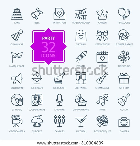 Outline web icon set - Party, Birthday, Holidays - stock vector