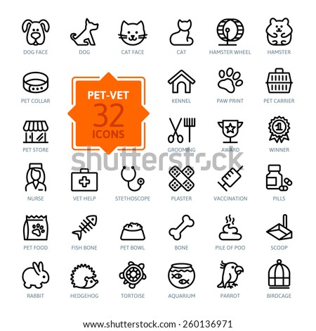 Outline web icon set - pet, vet, pet shop, types of pets - stock vector