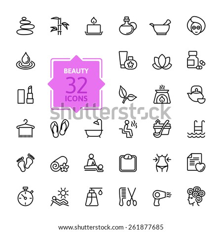 Outline web icon set  - Spa & Beauty - stock vector
