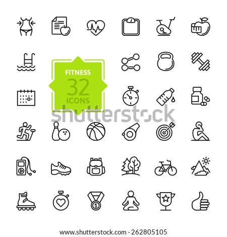 Outline web icon set - sport and fitness - stock vector