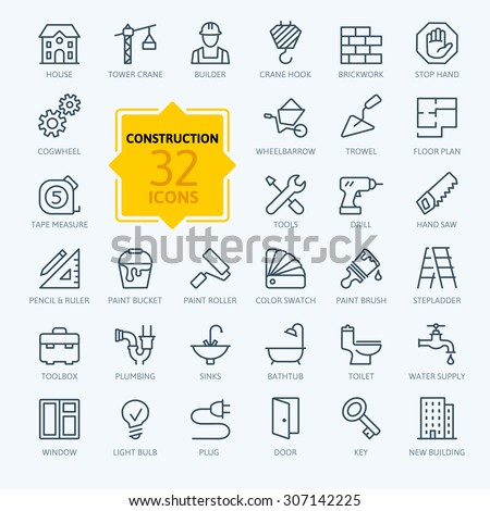 Outline web icons set - construction, home repair tools - stock vector