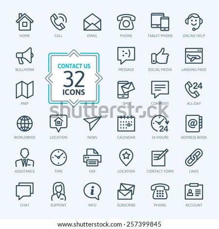 Outline web icons set - Contact us - stock vector
