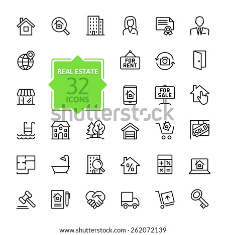 Outline web icons set - Real Estate - stock vector