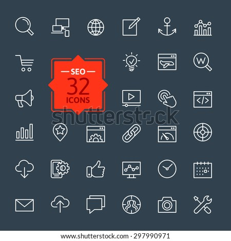 Outline web icons set - Search Engine Optimization - stock vector