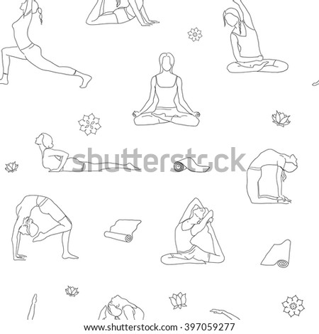 Outline Yoga Poses Pattern Background Line Illustration Postures Isolated