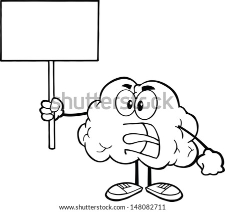 Outlined Angry Brain Cartoon Character Screaming And Holding Up A Blank Sign - stock vector