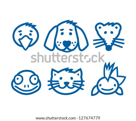 Outlined animal, pets icon set, vector illustration. - stock vector