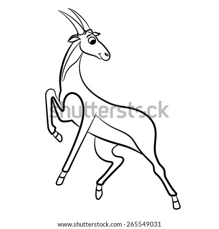 Outlined antelope vector illustration. Isolated on white. - stock vector