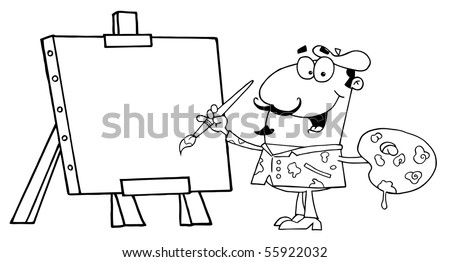 Outlined Artist Painter Paint On A Canvas - stock vector