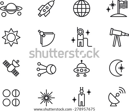Outlined ASTRONOMY, ASTROLOGY & SPACE icons - stock vector