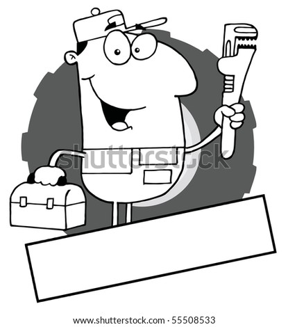 Outlined Auto Mechanic With A Blank Text Box - stock vector