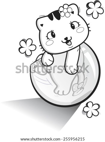 Outlined baby cat play glass bubble vector. - stock vector