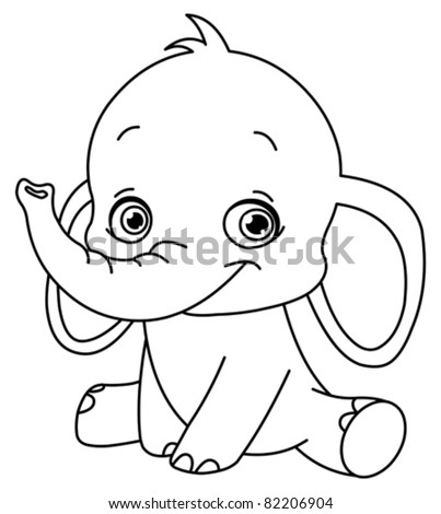 Outlined baby elephant - stock vector