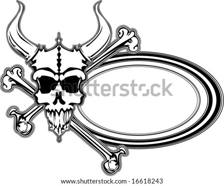 outlined black and white horned beast with crossed bones and text oval vector illustration border - stock vector