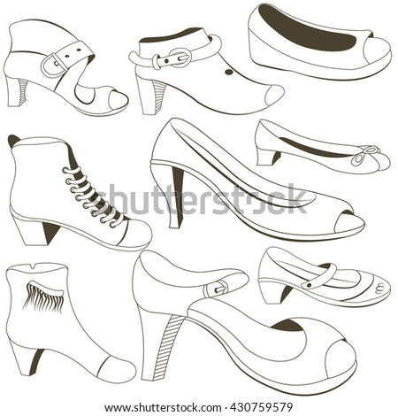 Outlined black vector illustration of nine different woman footwear shoes. - stock vector