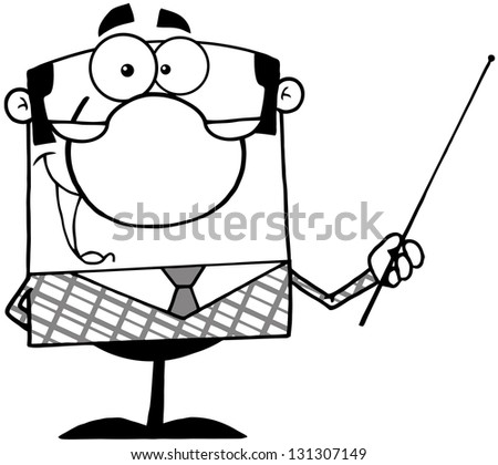 Outlined Business Manager Gesturing With A Pointer Stick - stock vector