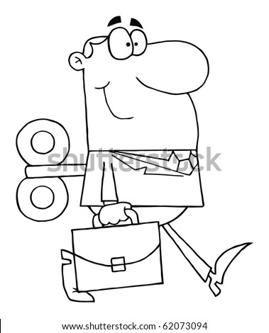Outlined Businessman With Wind-up Key In His Back - stock vector