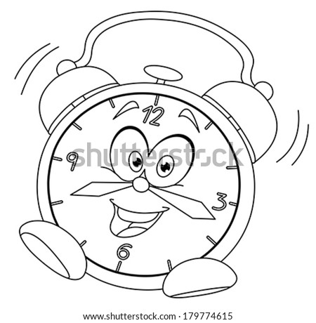 Outlined cartoon alarm clock. Vector illustration coloring page - stock vector