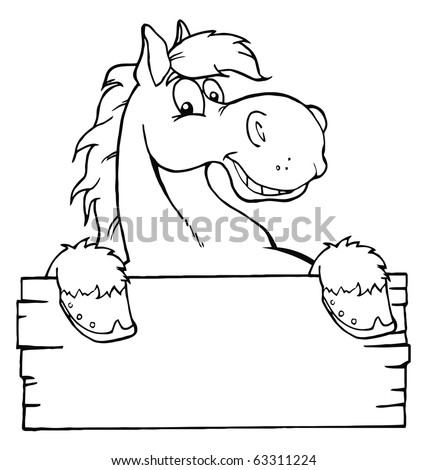 Outlined Cartoon Horse With A Blank Sign - stock vector