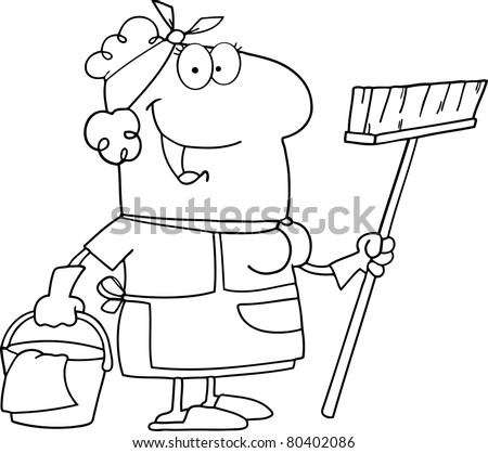 Outlined Cleaning Lady Cartoon Character - stock vector