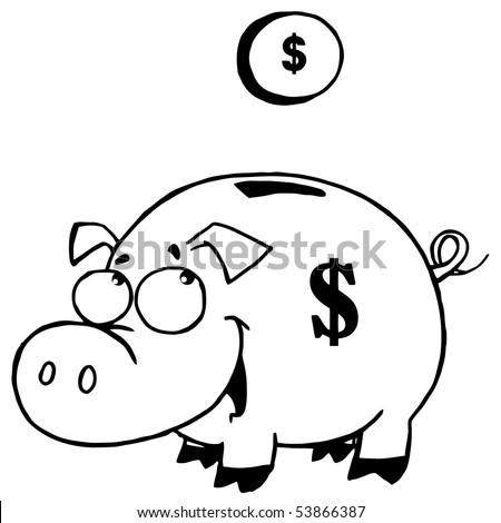Outlined Coin And Piggy Bank - stock vector