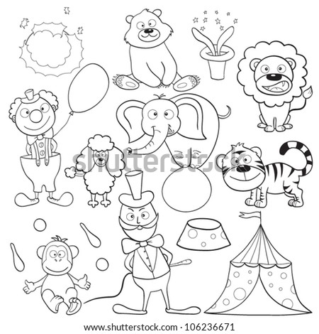 Outlined cute cartoon circus elements for coloring book. Vector illustration. - stock vector