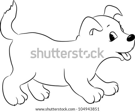 Outlined cute cartoon dog. Vector illustration.