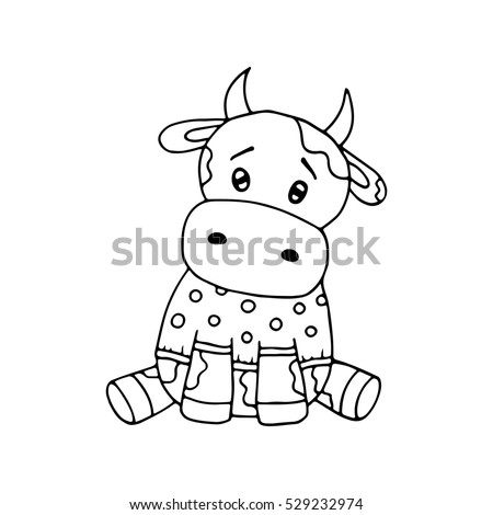 outlined cute cow coloring page kids stock vector 529232974