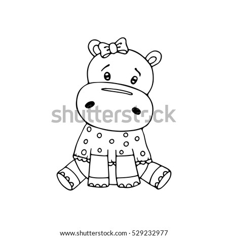 Outlined Cute Hippopotamus Coloring Page For Kids Vector Illustration