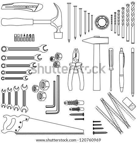Outlined D.I.Y. hand tool set, illustration - stock vector